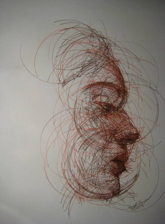JOSEPH VASSIE, CIRCULAR PORTRAIT 2 - Every line of this portrait was drawn around a CD to create this swirling effect.
