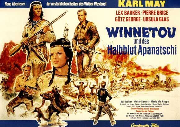 """Half-Breed (1966) """"Winnetou und das Halbblut Apanatschi"""" Stars: Lex Barker, Pierre Brice, Götz George, Uschi Glas ~  Director: Harald Philipp"""