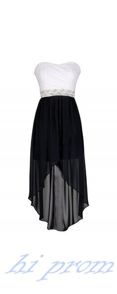 Black Homecoming Dress,High Low Homecoming Dresses,High low Homecoming Gowns,Strapless Prom Dress,White Prom Dresses,Chiffon Sweet 16 Dress,Simple Evening Dresses For Teens