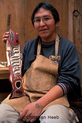 Tlingit (First Nations) Artist Wayne Carlick .at Capilano Suspension Bridge,.Vancouver,.British Columbia, Canada by Christian Heeb