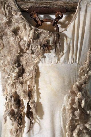 "Moira Bateman. Nightdress 2; Mnemosyne Series (detail)  2011  Linen textile, onion skin dye, raw wool, ox yoke, rope  114""x30""x6""."