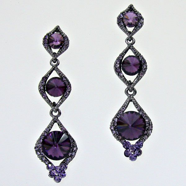 Purple crystal diamante earrings only £11.99 from WWW.GlitzyGlamour.co.uk