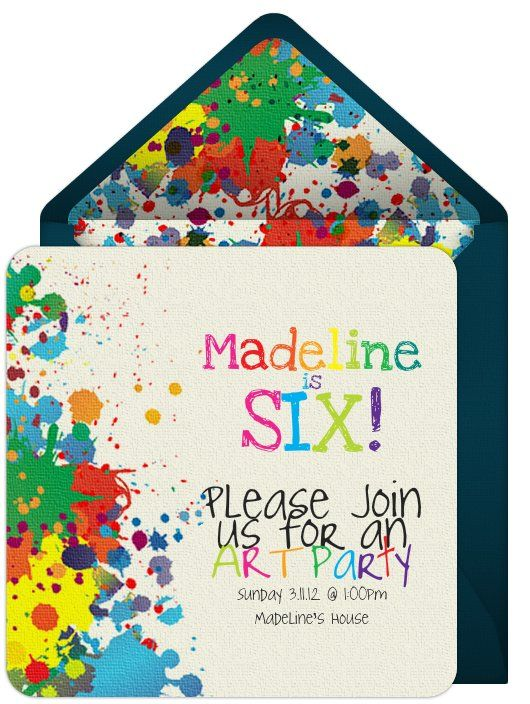 The digital invites I made for Madeline's Art Party using www.punchbowl.com {I pinned this before.. not sure what happened to the original pin though!}