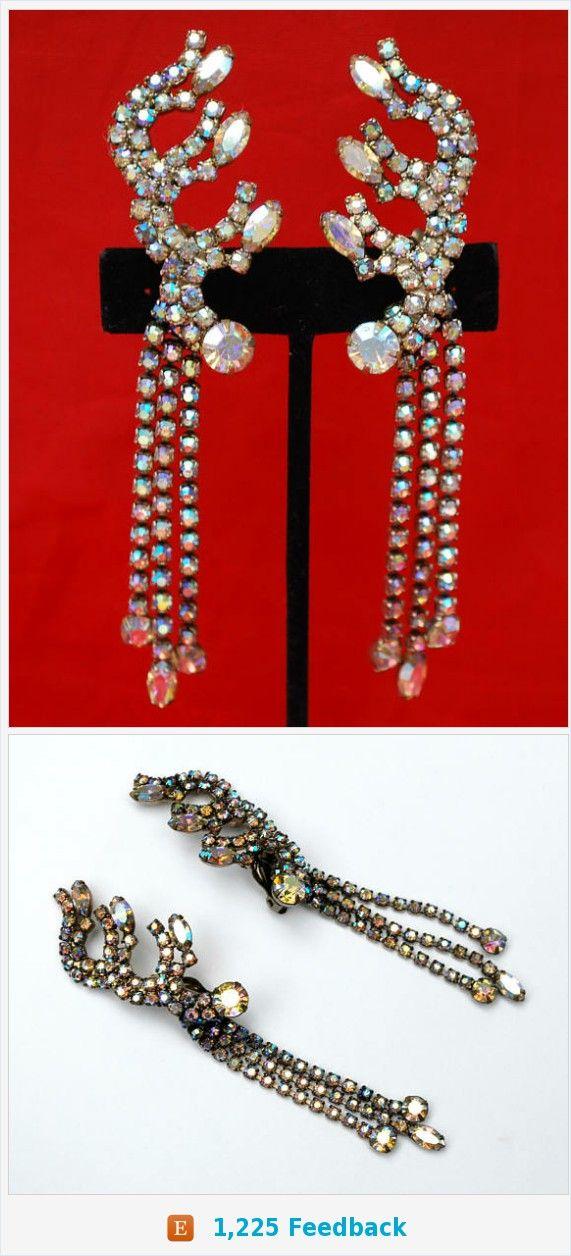 Rhinestone Clinbing Dangle Earrings - chandalier - Aurora borealis Crystal Tassel - Clip on earrings _ Wedding Bride https://www.etsy.com/serendipitytreasure/listing/577311247/rhinestone-clinbing-dangle-earrings?ref=listing_published_alert