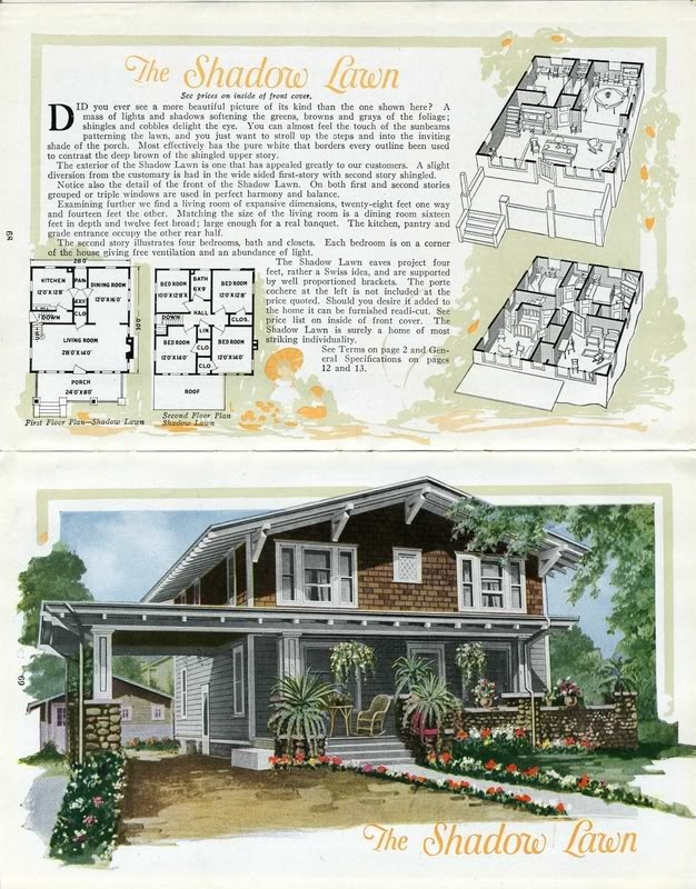 the aladdin shadowlawn as seen in the 1919 aladdin catalog - 1919 House Plans