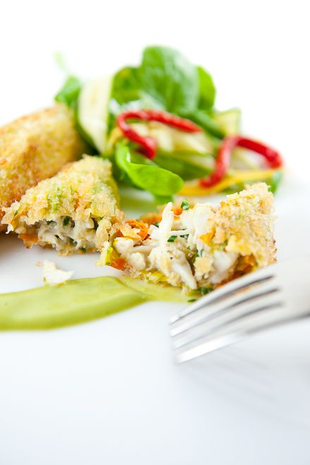 Zucchini Flowers Stuffed with Crab | Zen Can Cook with Basil Sauce & Watercress Salad. It's not fried either!