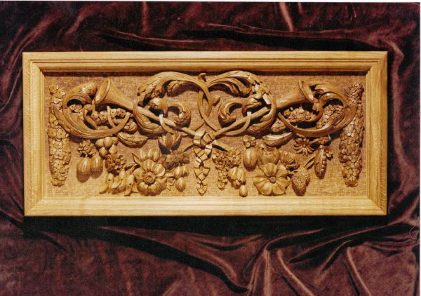 Grinling gibbons wood carving sculpture panel