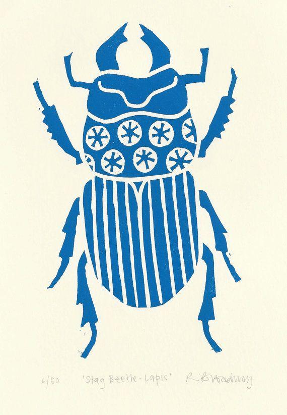 Hirschkäfer Lino drucken (Lapis blau)
