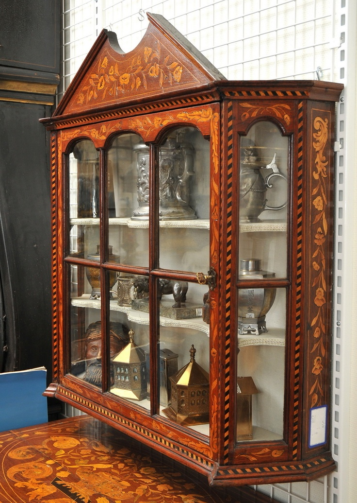 Inlaid Dutch Hanging Cupboard Display Marquetry Wall Cabinet C 1700 Antique 35 H Ebay