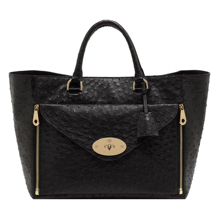 Mulberry Willow Tote in Black Ostrich