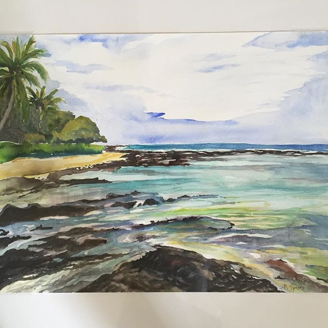 Puako oceanfront watercolor. #puako #watercolor #art #ocean #reef #beach