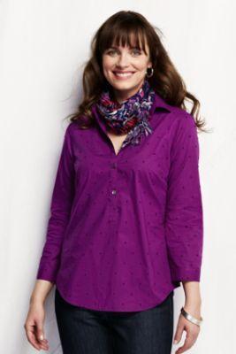 Women's Three-quarter Sleeve Swiss Dot Cotton Tunic