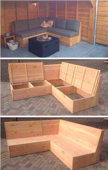 Couch with possibility of organizing your stuff in. ❤ #outdoordiyseating
