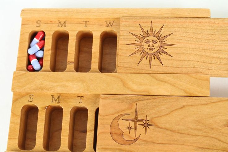COOL ELDER GIFT. Day and Night Weekly Pill Box, Solid Cherry Hardwood Top and Bottom, Medication Box, Paul Szewc - pinned by pin4etsy.com