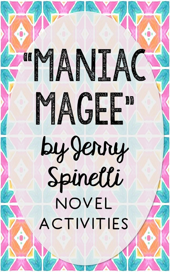 Maniac Magee by Jerry Spinelli. This NO-PREP resource is perfect if you're looking for novel activities that are engaging and demonstrate comprehension WITHOUT multiple choice tests! This unit includes vocabulary terms, poetry, author biography research, themes, character traits, one-sentence chapter summaries, and note taking activities. You'll also find an author quote poster, a tri-fold bookmark, and character/vocabulary wall cards (plus EDITABLE cards!).