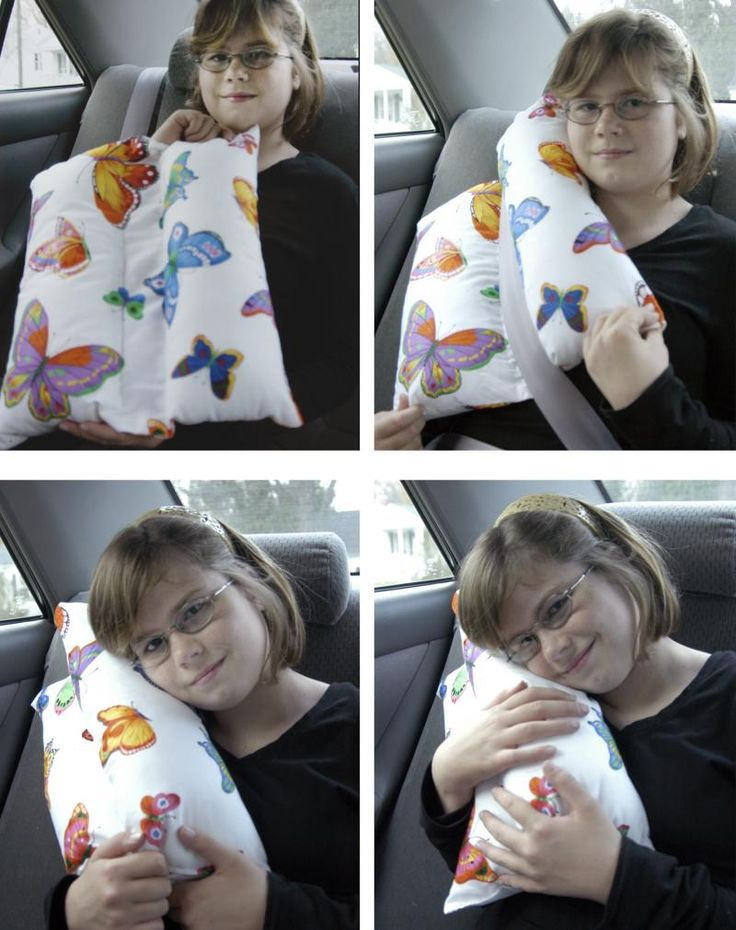 The Travel Pillow  A Great idea even for adults and looks so easy to make. It works by placing seatbelt across center flat part of pillow and simply folding over. (the website sells the finished product, but I'm sure this could easily be diy).