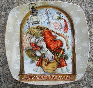 Le porcellane di Morena: Natale - Christmas - Noel Piatto in porcellana dipinta a mano