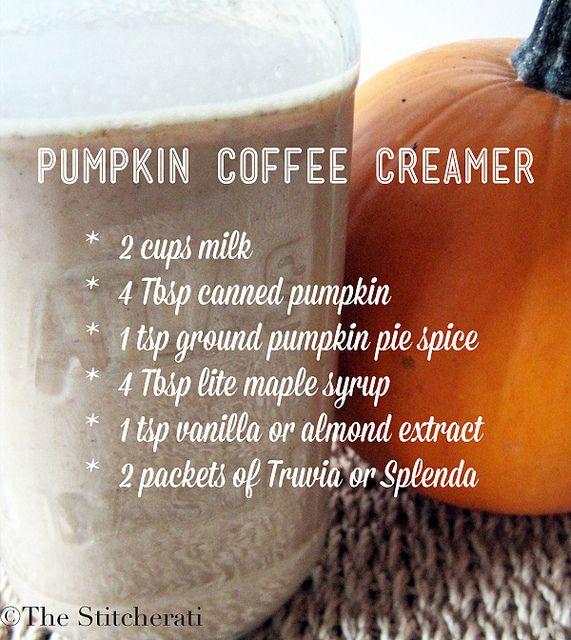 Pumpkin coffee creamer - The Stitcherati.  Needs cream or half & half.  I used skim milk