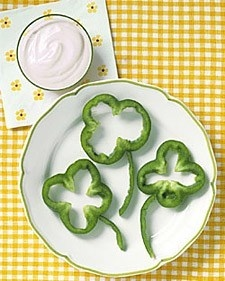 Bell Pepper Snack for St. Patrick's Day.
