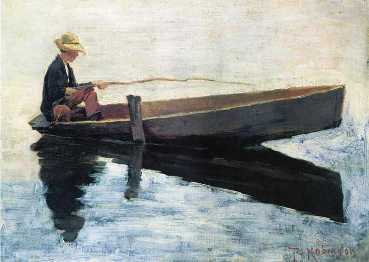 Theodore Robinson (American, 1852-1896), [Old Lyme Colony, Impressionism] Boy in a Boat Fishing, 1880.