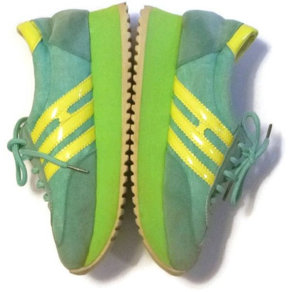 70s Sporty Running Shoes Vintage Sneakers 1970s Runners Lime Green... ($100) ❤ liked on Polyvore featuring shoes, vintage lace up shoes, lime shoes, turquoise wedge shoes, laced shoes and lace up wedge shoes