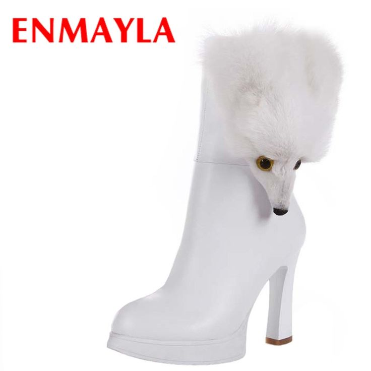 71.36$  Buy here - http://alivo8.worldwells.pw/go.php?t=32397658366 - ENMAYLA New Platform Boots Women High Heels Mid Calf Boots Vintage Black White Shoes Woman Sexy Furry Fox Winter Boots 71.36$
