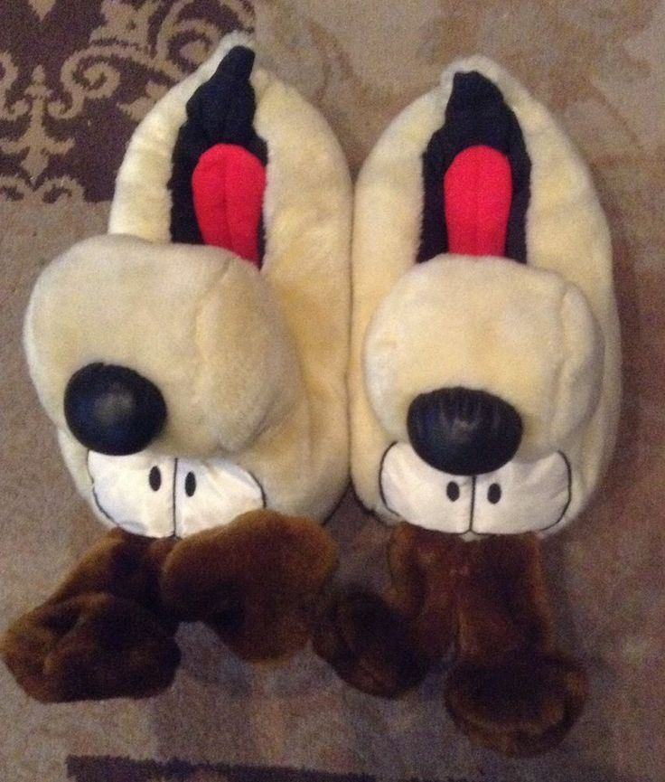 ODIE DOG GARFIELD CARTOON Slippers Size Large 9/10 RARE