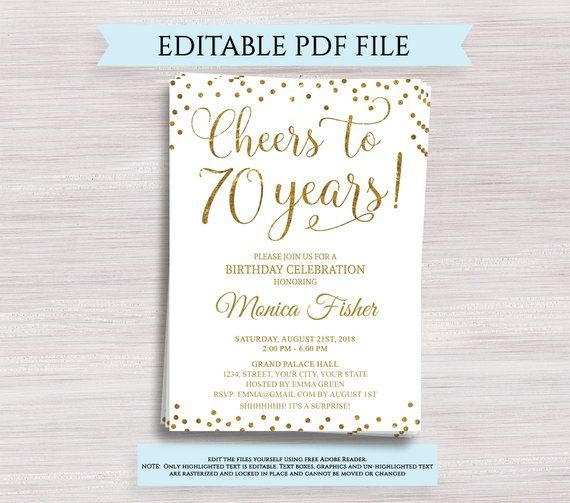 Editable 70th Birthday Party Invitation Template Cheers To 70 Years 70th Anniversary Invitation Gold Birthday Invite Digital Printable Pdf 70th Birthday Invitations 90th Birthday Invitations 60th Birthday Invitations