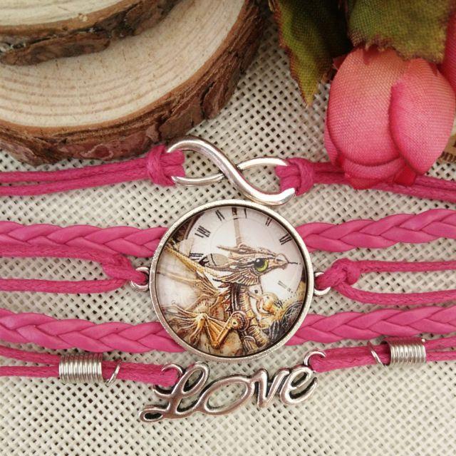 Speciale vleugels draak groothandel nieuwste populaire lederen gevlochten touw punk 100 % met de hand gemaakte glazen koepel ly2046 armbanden