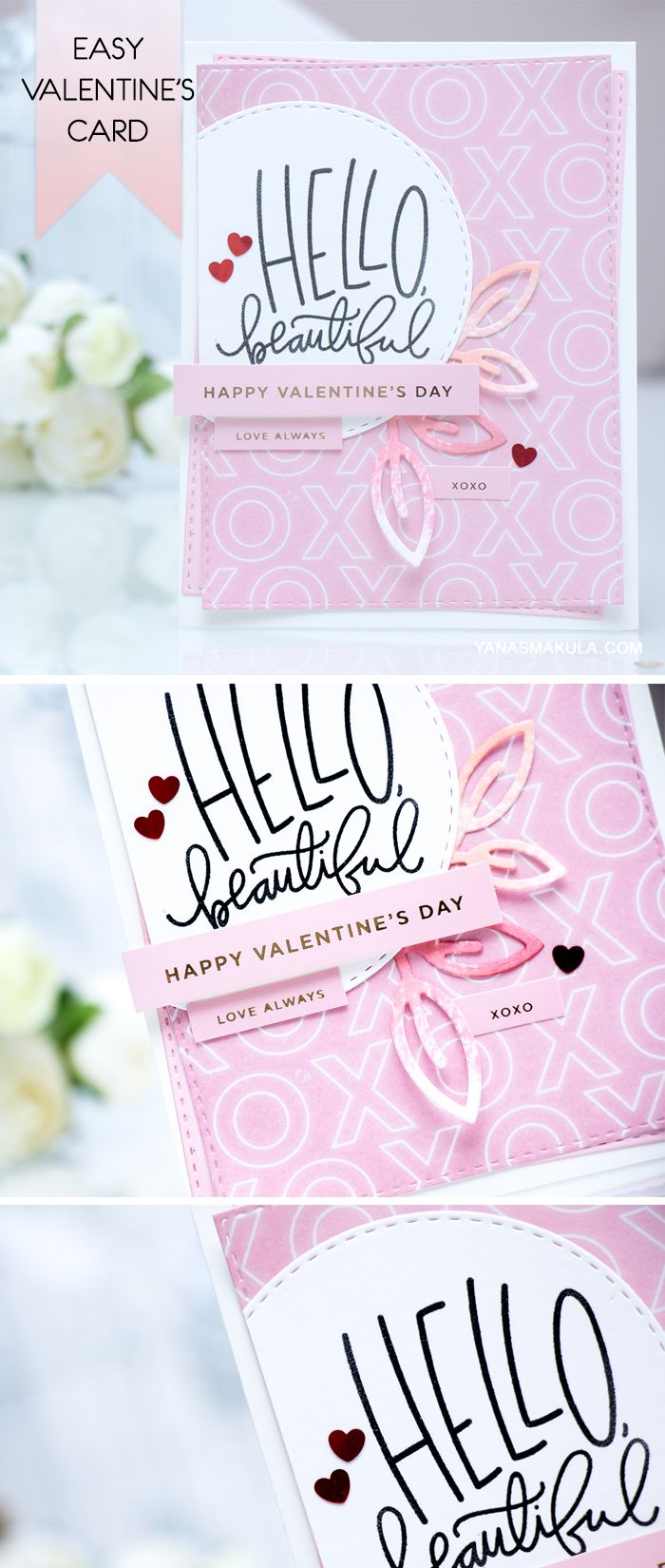Create a beautiful Valentine's Day Card using dies and stamps from Simon Says Stamp. To see the details, visit http://www.yanasmakula.com/?p=52385