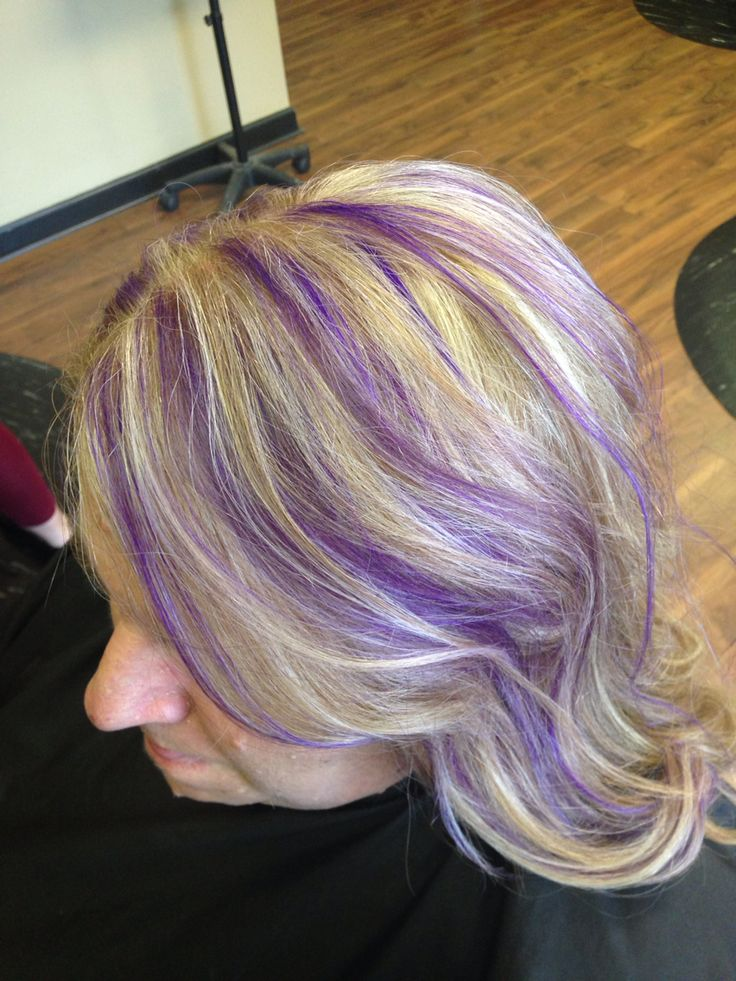 Blonde Hair With Purple Highlights Pravana Violet And Wild Orchid Combo All Things Beauty Pinterest Wild Orchid Purple Highlights And Blondes
