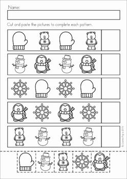 Winter Preschool Math and Literacy No Prep worksheets and activities. A page from the unit: winter patterns cut and paste