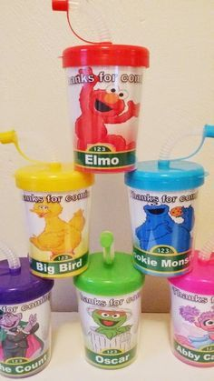 SESAME STREET PERSONALIZED PARTY FAVOR CUPS, ELMO, BIG BIRD COOKIE MONSTER OSCAR ABBY CADABBY THE COUNT BIRTHDAY PARTY TREAT CUPS SET OF 6