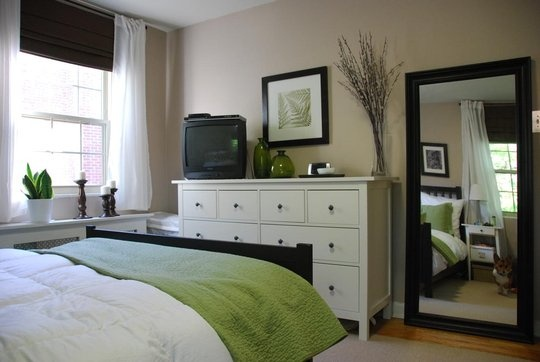 I love the mix of dark and white furniture  Bedroom