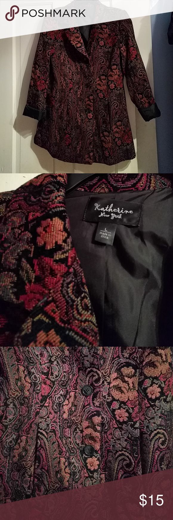 Tapestry print blazer style peacoat Tapestry print with muted browns, orange, red on a black background. Three buttons down front and two pockets. Almost like a heavy, long blazer, but I would say really am outdoor fall coat. Wore 2-3 times, still like new. Dry clean only. Jackets & Coats Pea Coats