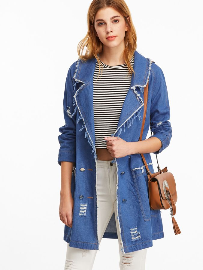 Shein Blue Double Breasted Distressed Denim Trench Coat