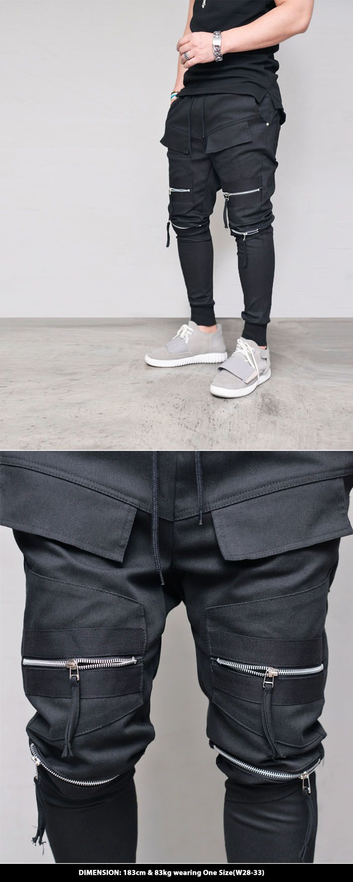 Double Zipper Biker Jogger-Sweatpants 352 - GUYLOOK