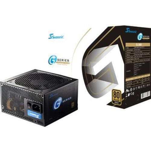 Seasonic 360W 80PLUS Gold ATX12V Power Supply SSR-360GP. 80 Plus Gold Certified. 12cm Ball Bearing Cooling Fan. 1x 8/4 pin CPU Connector, 1x 6pin PCI-Express Connector, 3x 4pin Peripheral Connectors, 4x SATA connectors, 1x Floppy Connector. Total Power: 360 W. Color: Black. Seasonic SSR-360GP 360W 80PLUS Gold ATX12V Power Supply. Item dimensions: 500 - 338 - 590 - 551 - hundredths-inches. Connectors: 1x 20/24 pin M/B Connector. Input Frequency: 50/60 Hz.