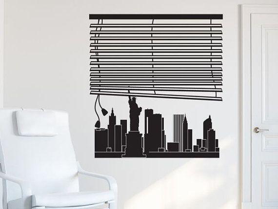 Parete finestra decal per skyline di NEW YORK, città bellissima skyline decalcomania, soggiorno decalcomania, Decalcomanie e camera da letto, vinile adesivo, adesivi in vinile