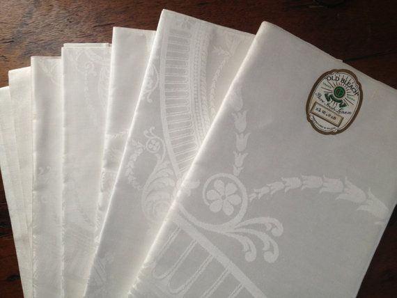 "Elegant Irish Damask Linen ""Old Bleach"" Large White Tablecloth & Set of 6 Matching Dinner Napkins ~ Unused"