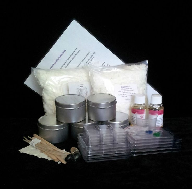 Candle Tins and Wax Melts Kit,  900grams Soy Wax 5 x Seamless Candle Tins ( normal lid or clear lid ) 5 x Wax Melt Moulds 5 x Wicks 5 x Stickuums 5 x Wicks Holders 5 x Warning Labels 2 x Color 2 x Fragrances 50mls Easy to follow instructions