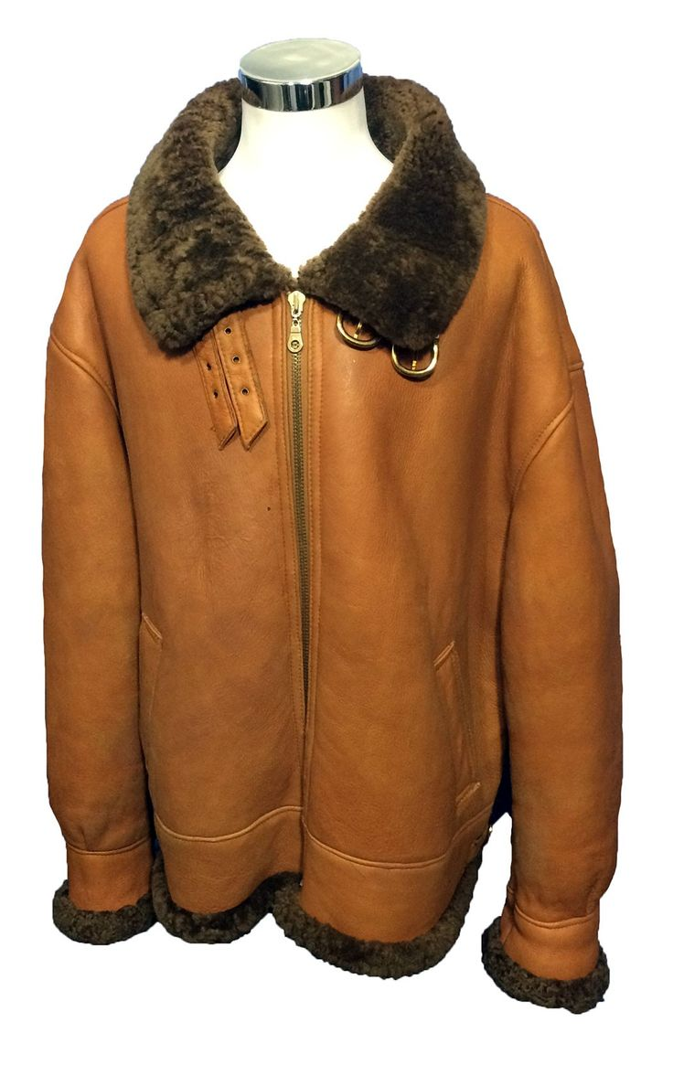 B3 shearling sheepskin raf wwii bomber leather flying aviator jacket - B 3 Bomber Brown Shearling Leather Flight Jacket Men S Size 4 Xl 299 99 Leather