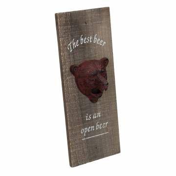 Eigen achterplaat print op hout voor in Festipi Village bar. -- Flesopener 'Beer'