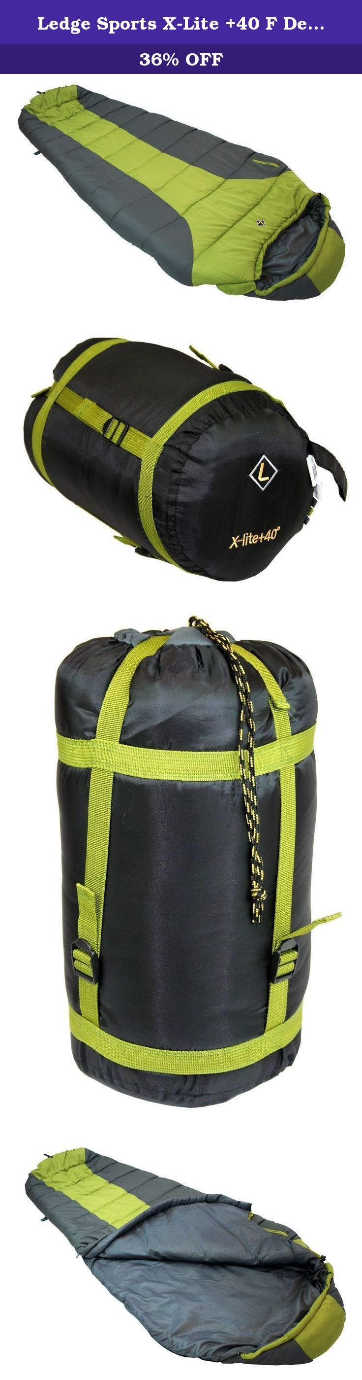 Ledge Sports X-Lite +40 F Degree XL Oversize Ultra Light Design, Compact Sleeping Bag (88 X 36 X 26). Built for size and weight restrictions on extended journeys. The X-Lite is Oversize size with premium fill. Temperature rating is a gauge for experienced users who understand proper equipment use. Unlike other Ledge classic and oversize bags it is not a comfort rating but a guide for use.