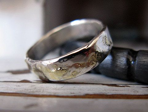 Rustic Mens Wedding Band Sterling Silver with 14k by RusticFORMen