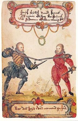 In the 16th Century, the single handed sword was often used with an off hand weapon, in this case, cut-and-thrust sword with parrying dagger
