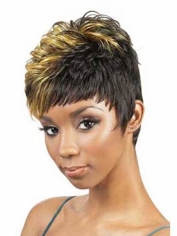 Free Shipping Pixie Cut Synthetic Wigs With Bangs Short Curly Black Hair African American Wigs For Women 0200