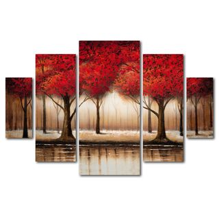 Hand-painted 'Four Seasons' 5-piece Gallery-wrapped Canvas Art Set - Overstock Shopping - Top Rated The Lighting Store Canvas