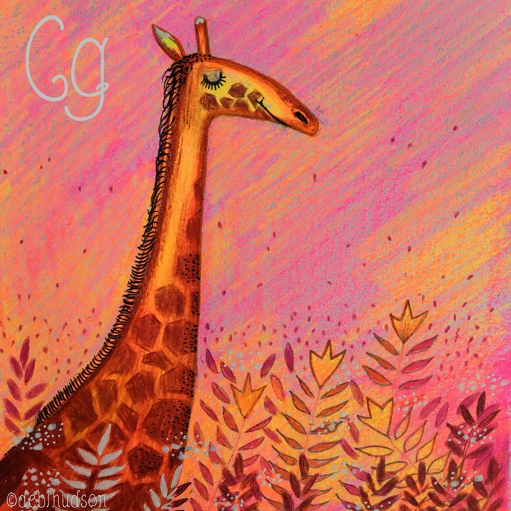 G is for Giraffe, coloured pencil drawing by Debi Hudson