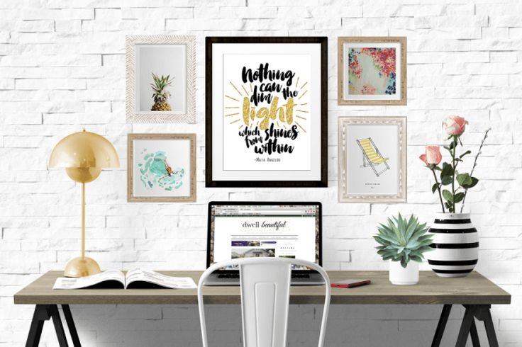 'Nothing can dim the light which shines from within.' - Maya Angelou. Get this gorgeous free printable quote. Simply print, frame, and hang, for instant inspiration and beautiful home decor!